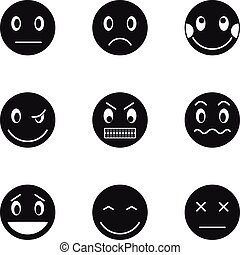 Emoticons for chatting icons set, simple style - Emoticons...