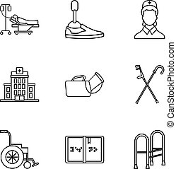 Disability icons set, outline style - Disability icons set....