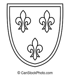 Crest icon, outline style - Crest icon. Outline illustration...