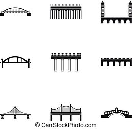 Bridge transition icons set, simple style - Bridge...