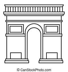 Triumphal arch icon, outline style - Triumphal arch icon....