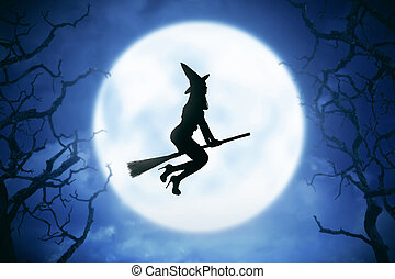 Silhouette of witch woman riding magic broom - Silhouette of...