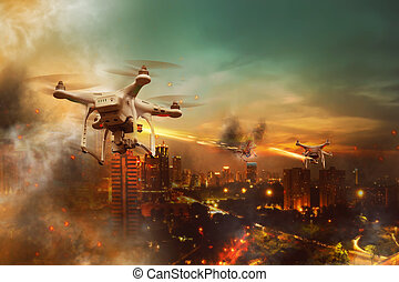 Drone Wars Concept - Drones battle over the city at night...