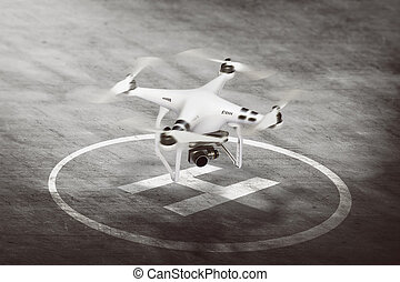 White drone going to take off - Image of small white drone...