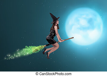 Pretty asian witch woman flying on the sky in the night with...