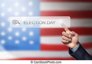 Man hand like to search a election day in the virtual screen