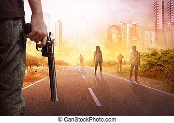 olhar, camisa, zombie, rua, segurando, sujeito, arma de fogo...