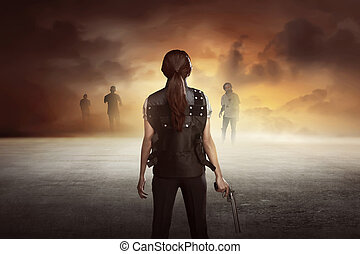Brave woman with vest shoot the zombies - Brave woman with...