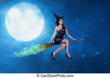 Asian witch woman ride the broom on the sky, in the night...