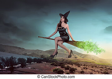 Asian sexy witch woman ride the broom and flying on the sky
