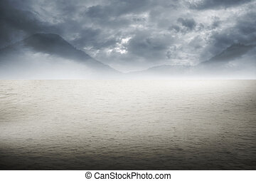 Desert Background - Image of desert with dark cloud for your...