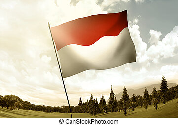 Indonesian flag waving on the hill with blue sky background
