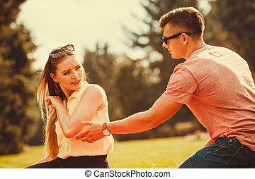 Upset lady rejects her man. - Love romance heartbreak...