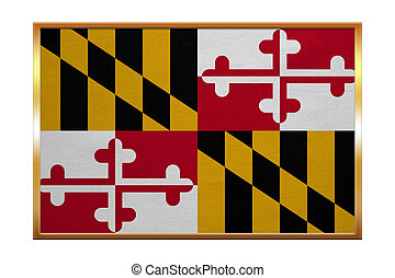 Flag of Maryland , golden frame, fabric texture - Flag of...