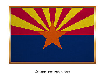 Flag of Arizona , golden frame, fabric texture - Flag of the...