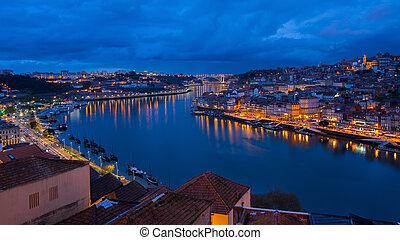 Night view of the Dora river, Porto, Portugal.