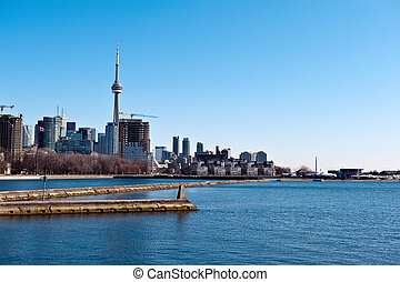 CN Tower Toronto cityscape - View on CN tower, downtown and...