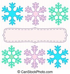 Snowflakes roes and blank frame