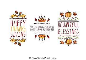 Set of Thanksgiving elements and text on white background