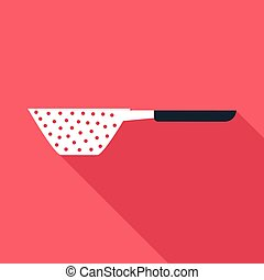 Small colander icon, flat style - Small colander icon. Flat...