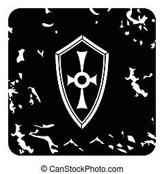 Cross shield icon, grunge style - Cross shield icon. Grunge...