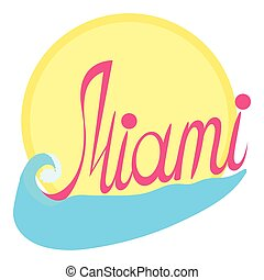 Miami logo, cartoon style - Miami logo. Cartoon illustration...