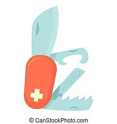 Penknife icon, cartoon style - Penknife icon. Cartoon...