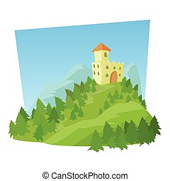 Castle icon, cartoon style - Castle icon. Cartoon...
