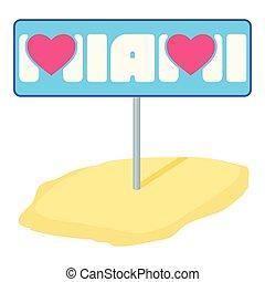 Miami pointer icon, cartoon style