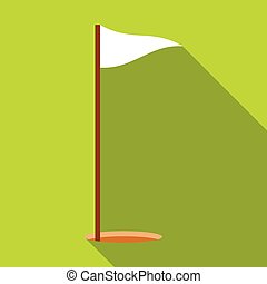 Golf flag icon, flat style - Golf flag icon. Flat...