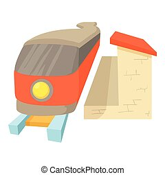 Train icon, cartoon style