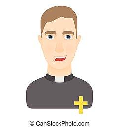 Priest icon, cartoon style - Priest icon. Cartoon...