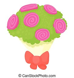 Wedding bouquet icon, cartoon style - Wedding bouquet icon....