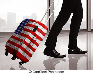 Suitcase With USA Flag Pattern
