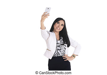 Asian bussiness woman take selfie with her smartphone -...