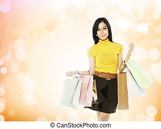 Asian Shopping Woman - Full body asian woman hold shopping...