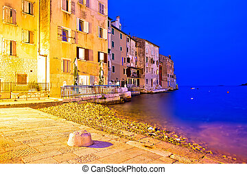 Rovinj beach and waterfront evening view, Istria, Croatia