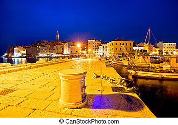 Rovinj harbor and waterfront evening view, Istria, Croatia