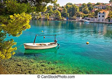 Idyllic turquoise beach in Splitska, village on Brac island,...