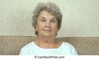 Portrait of serious grandmother with strict look - Old...