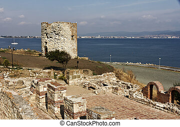 Old town of Nessebar, Bulgaria - Old Town Nessebar on the...