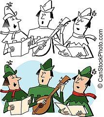 Caroling Elves - A trio of Christmas elves sing holiday...