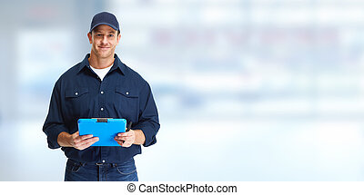 Car mechanic worker with clipboard over blue background