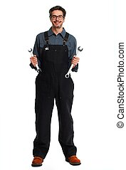 Car mechanic. - car mechanic with wrench isolated white...