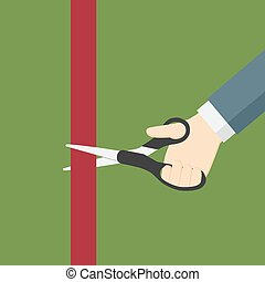Hand Holding Scissor And Cut Red Ribbon