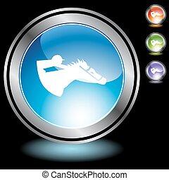 Horse Jockey - Horse jockey icon button isolated on a...