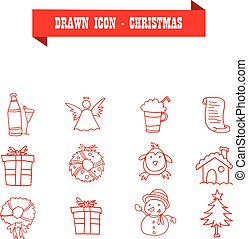 Collection of red icon Christmas