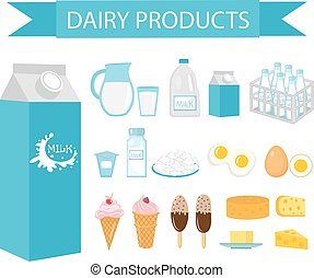 Dairy products icon set, flat style. Milk isolated on white...
