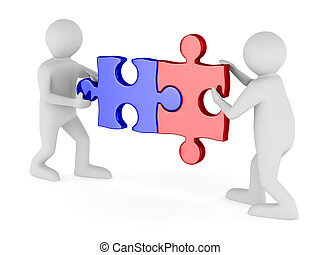 Two man with puzzle on white background. Isolated 3D image