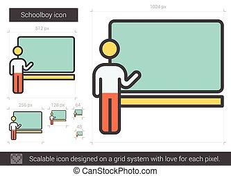 Schoolboy line icon. - Schoolboy vector line icon isolated...